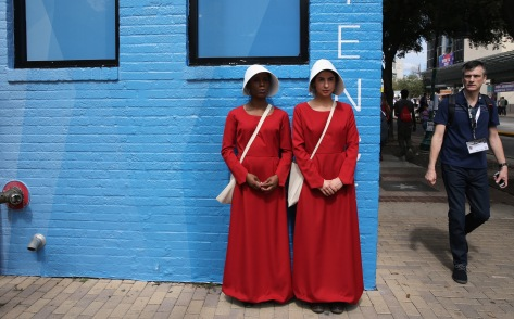 """AUSTIN, TX - MARCH 10: Cosplayers from the television series """"The Handmaid's Tale"""" are seen during 2017 SXSW Conference and Festivals on March 10, 2017 in Austin, Texas. (Photo by Hutton Supancic/Getty Images for SXSW)"""
